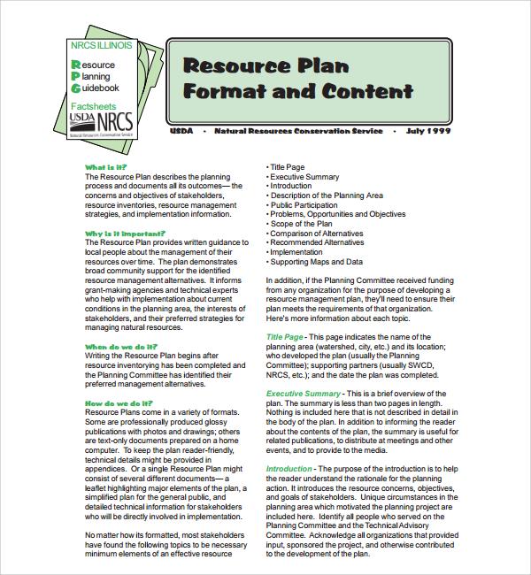 resource plan format