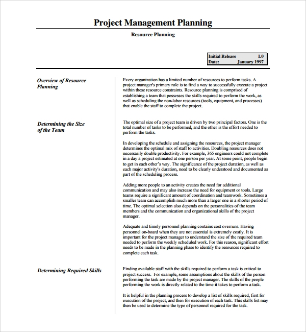 Sample Resource Plan Template   Free Documents In Pdf