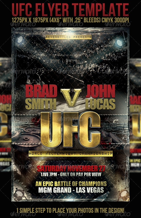 UFC Flyer Template 14 Download in PSD – Showdown Flyer Template