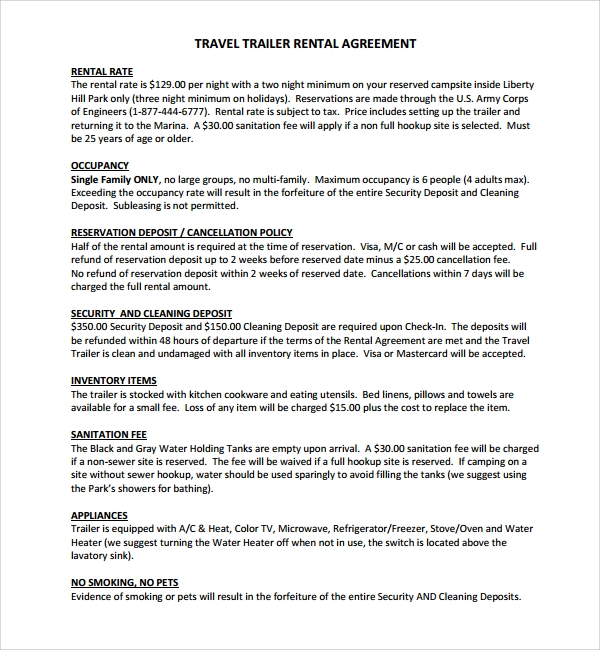 11 Trailer Rental Agreement Templates Pdf Sample