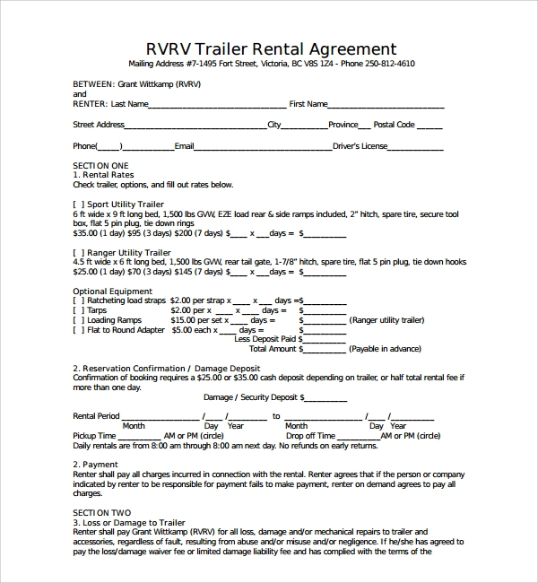 6 Trailer Rental Agreement Free Download. Download Free Printable Trailer Rental  Agreement Samples In PDF, Word And Excel Formats