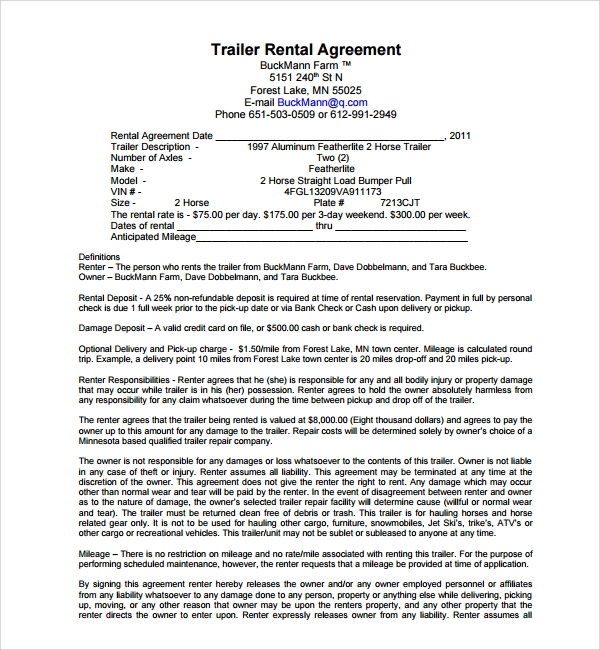 Sample Trailer Rental Agreement Template   Free Documents In Pdf