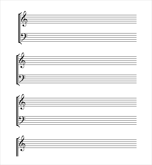 Sample Musical Note Template 9 Free Documents in PDF Word – Music Paper Template