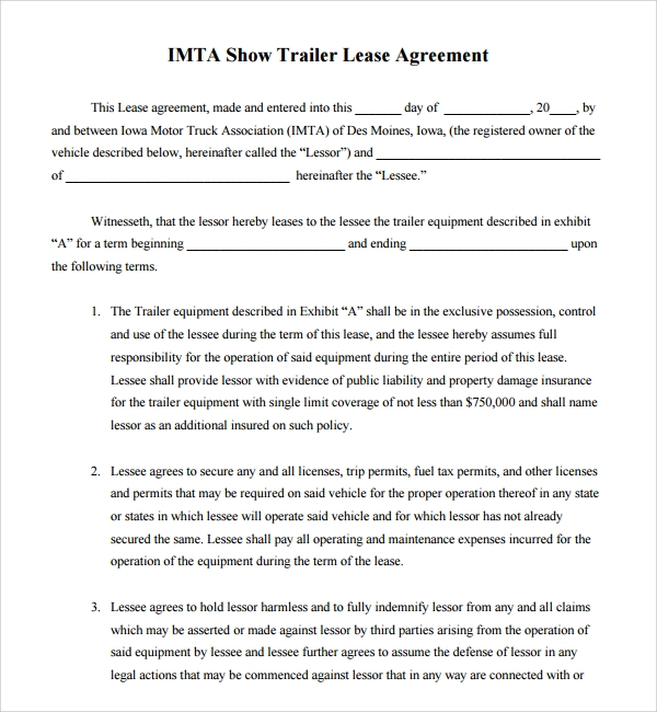 Doc460595 Tool Rental Agreement Equipment Lease Agreement – Trailer Rental Agreement Template