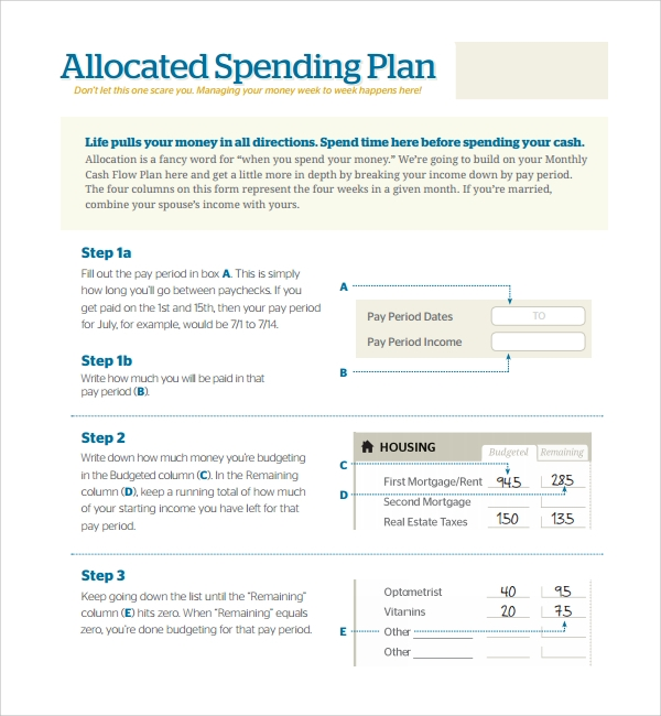 Sample Spending Plan Template   Free Documents In Pdf Word