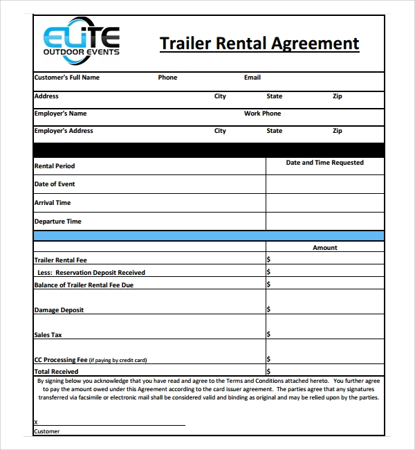 Sample Trailer Rental Agreement Template   Free Documents In