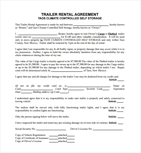 11 Trailer Rental Agreement Templates Pdf