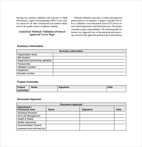 Sample Validation Plan Template 9 Free Documents In Pdf