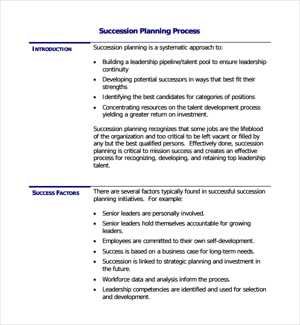 Succession Planning Process Template