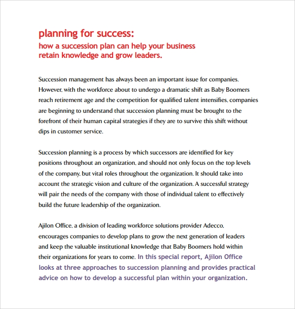 Sample Succession Plan Template   Free Documents In  Word