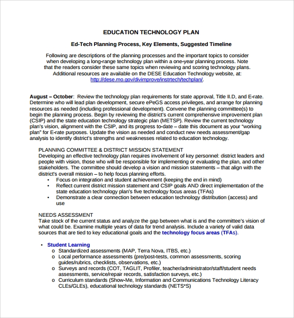 10 technology plan templates sample templates for Educational development plan template