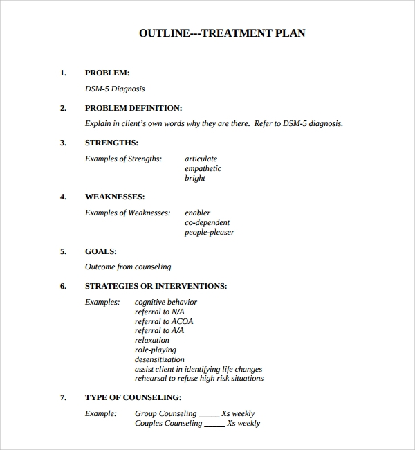 Counseling Treatment Plan Template  Plan Template