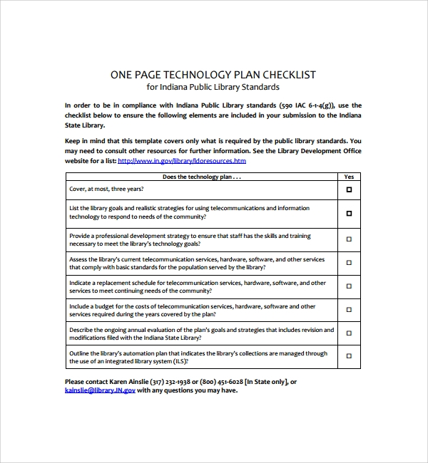sample technology plan template