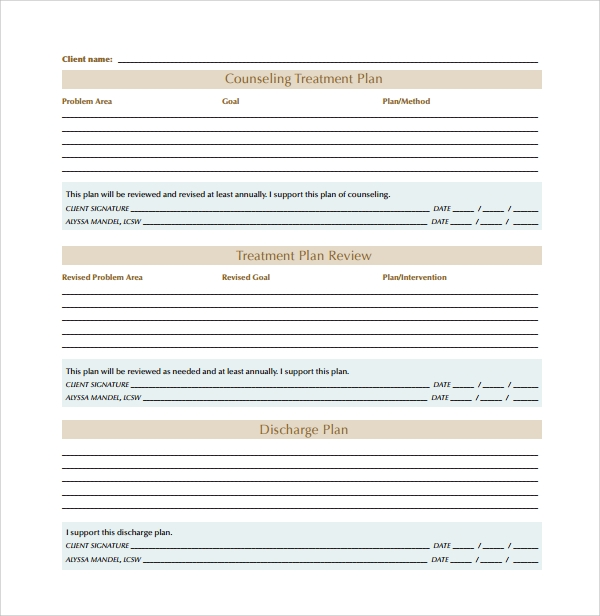 Sample Treatment Plan Template   Free Documents In Pdf