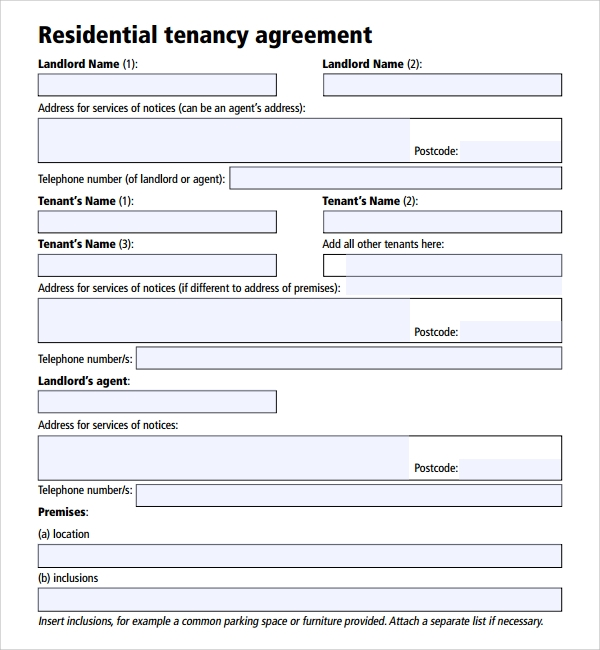 Sample Tenancy Agreement Template 9 Free Documents in PDF Word – Landlord Agreement Template