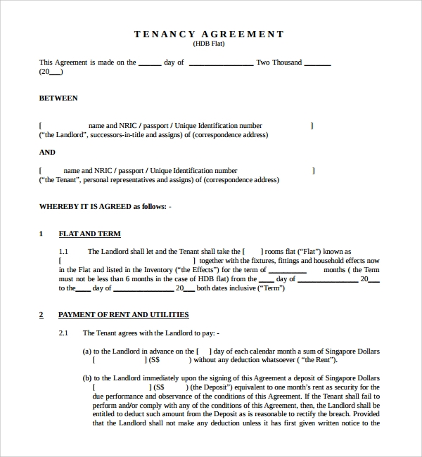 Doc830535 Tenancy Agreement Sample in Word Tenancy Contract – Tenancy Agreement Template