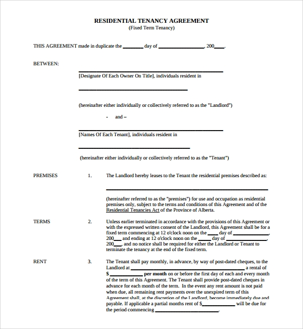 Sample Tenancy Agreement Template 9 Free Documents in PDF Word – Sample Tenancy Contract