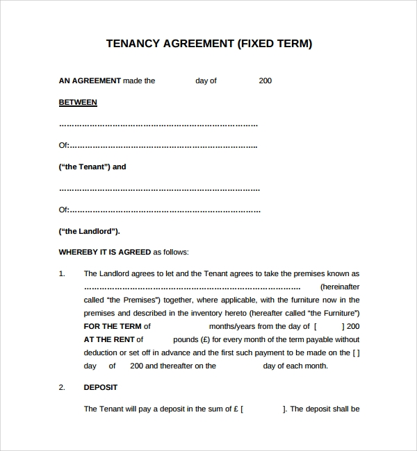 Sample tenancy agreement template 9 free documents in for Landlords contract template