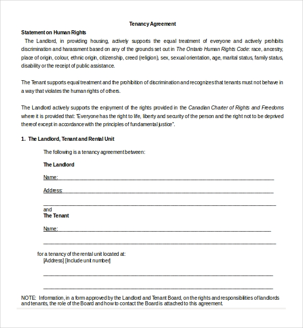 Sample Tenancy Agreement Template - 9+ Free Documents In Pdf, Word