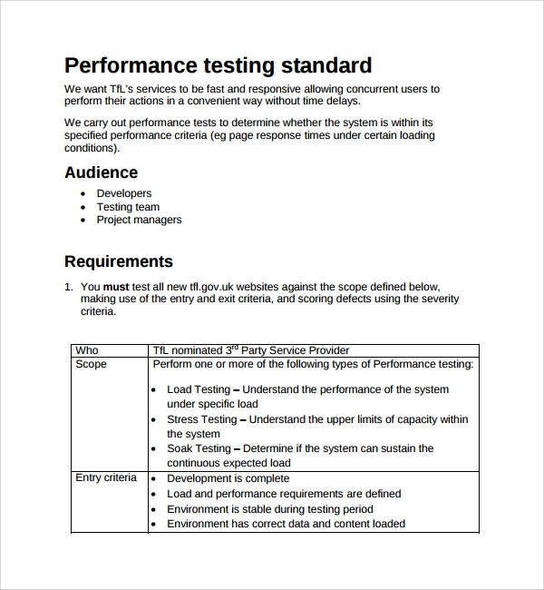 performance testing plan template