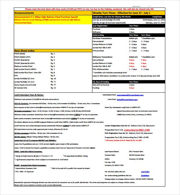 Sample rate sheet template