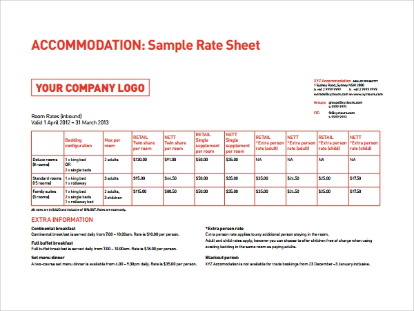 Sample Rate Sheet Template 5 Free Documents in PDF – Rate Sheet Template