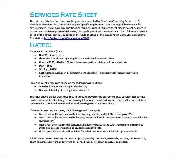 Sample rate sheet template 6 free documents in pdf for Rate sheets templates