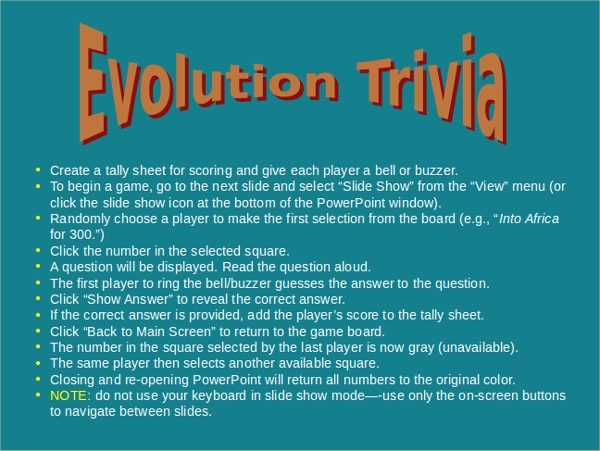 evolution trivia powerpoint template