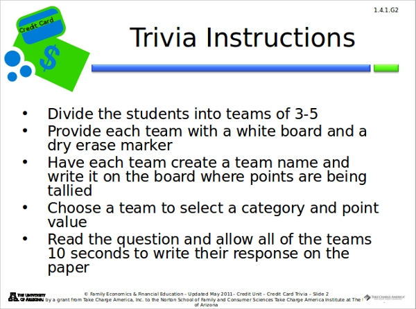 credit card trivia powerpoint template