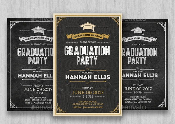 chalkboard graduation party invitation