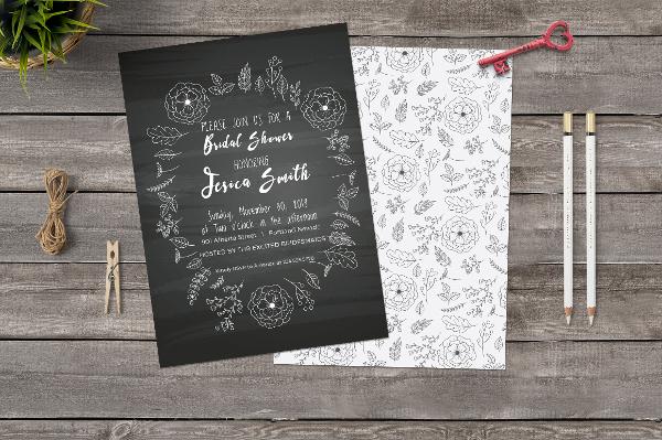 chlakboard bridal shower invitation