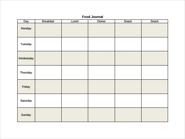 Weekly Food Journal Template  Free Journal Templates