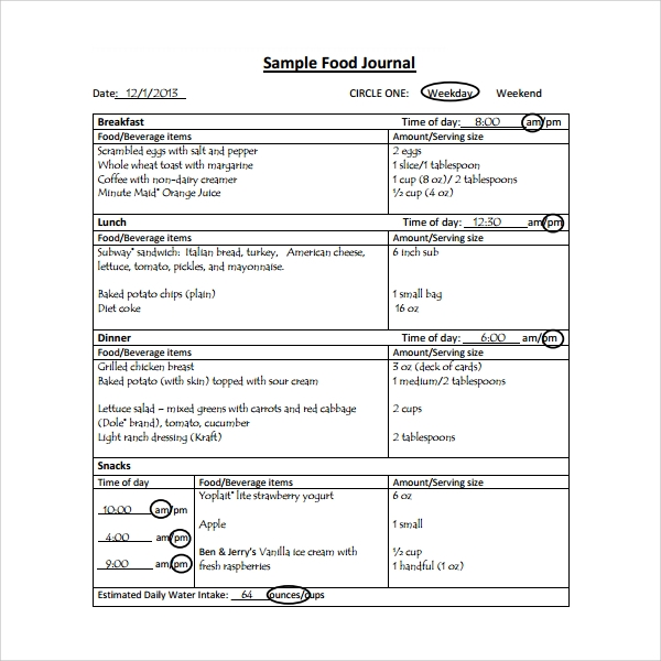 sample food journals