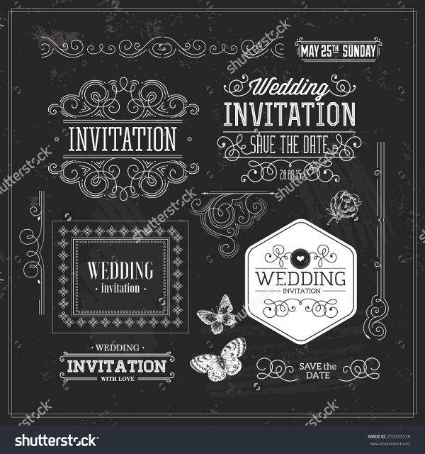 vintage wedding invitation chalk board