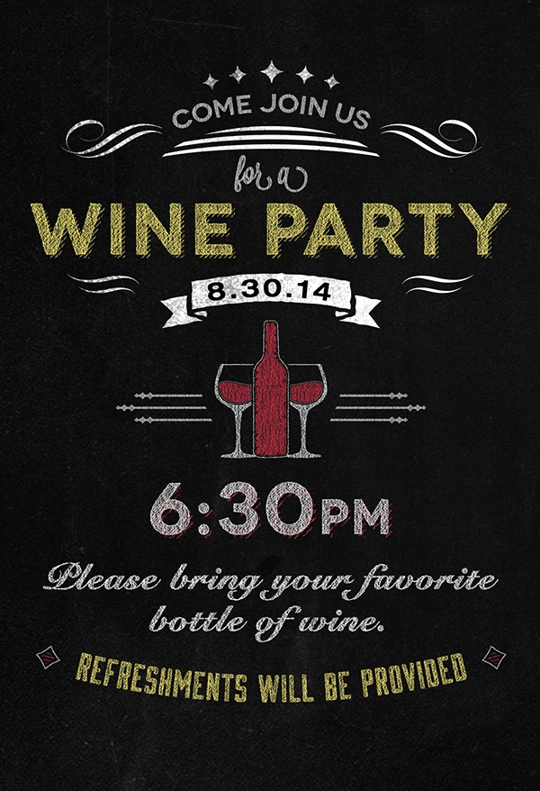 wine party invitation on chalkboard