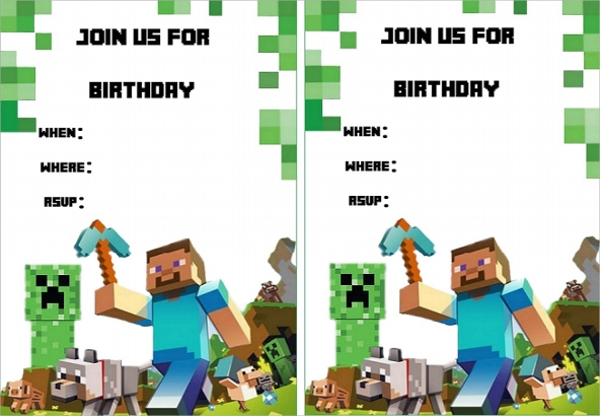 Mine Craft Invitation Template - 6+ Download In Psd, Pdf