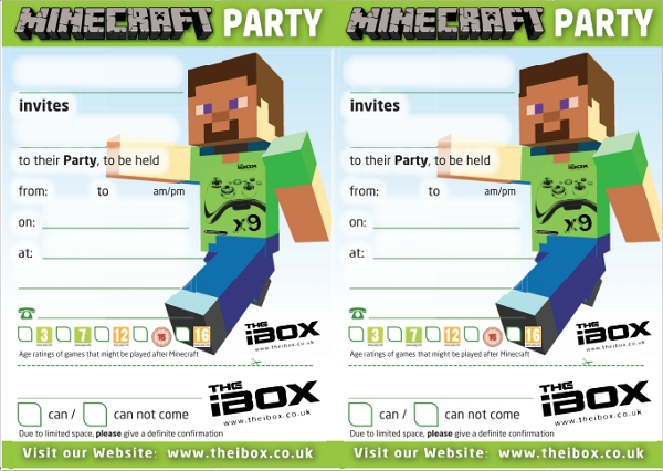 mine craft party invitation template1
