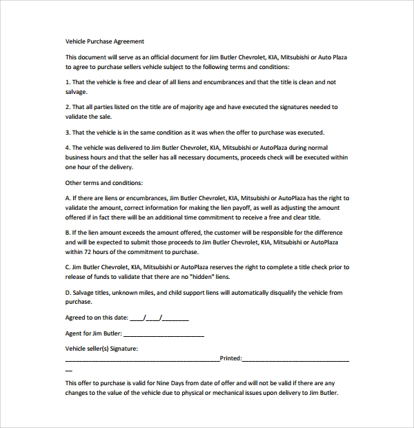 Vehicle Purchase Agreement Letter