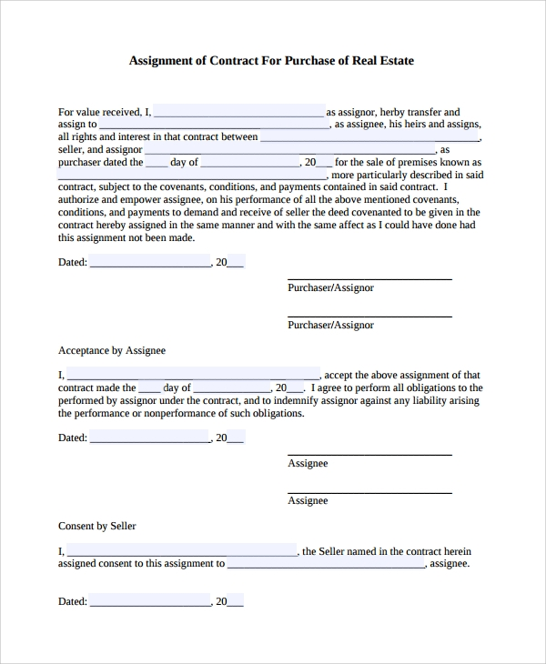Sample Assignment Of Contract   Free Documents Download In Pdf