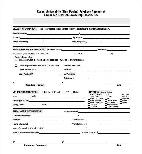 Auto contract form SD1 – Auto Contract Template