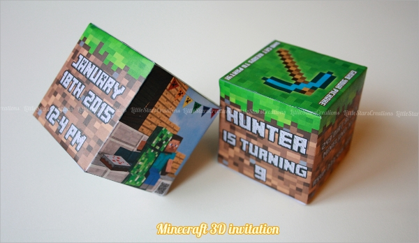 mine craft cube invitation template
