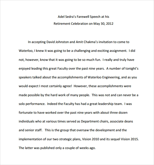 Sample Retirement Speech Example   Free Documents In Pdf Word