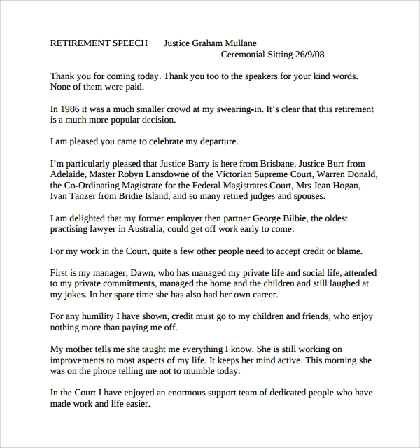9 retirement speech examples pdf word sample templates for Retirement speech template