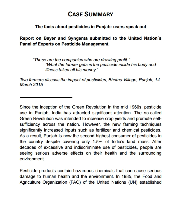 Sample Case Summary Template 9 Free Documents Download in PDF Word – Case Brief Template Word