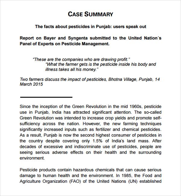 sample case summary template