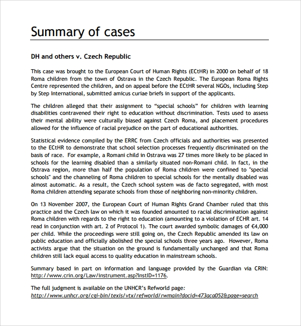 free case summary template