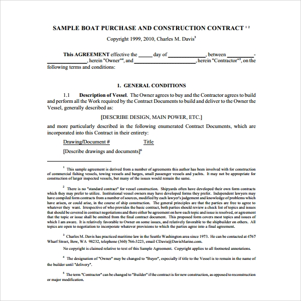 Sample Boat Purchase Agreement   Free Documents Download In Pdf Word