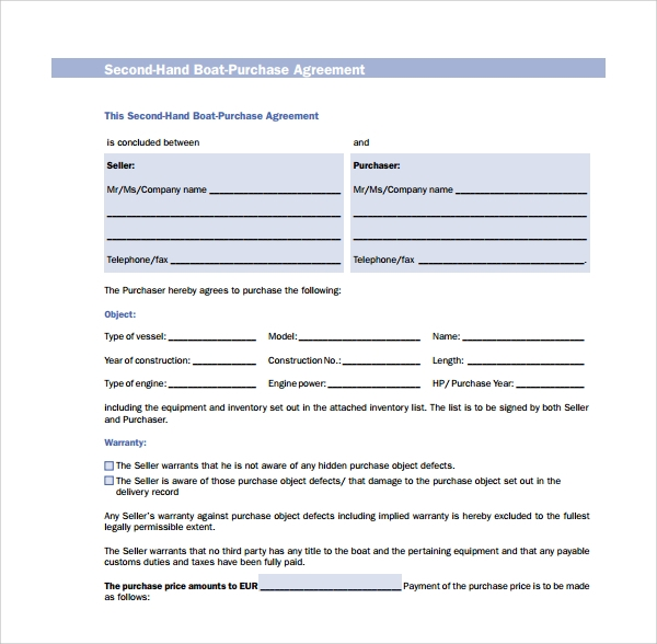 Sample Boat Purchase Agreement   Free Documents Download In Pdf