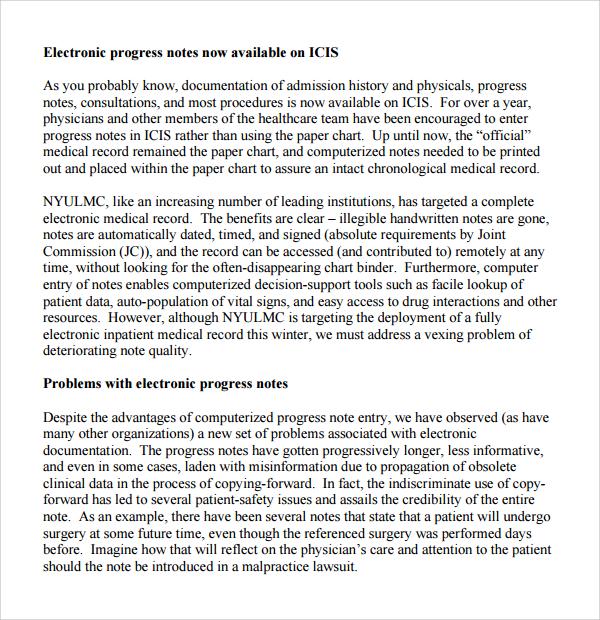 electronic progress note template