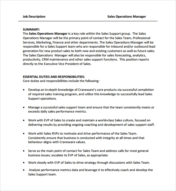 sale manager job description template